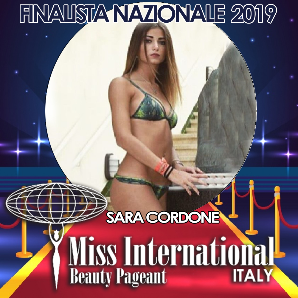 candidatas a miss international italy 2019. final: 9 june. Sara-cordone